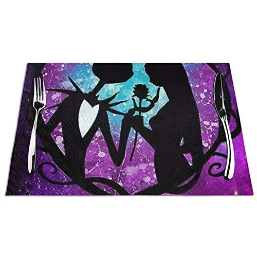 Jack And Sally Nightmare - Manteles individuales de vinilo (30,5 x 45,7 cm), diseño de pesadilla