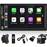 7 Inch Double Din Touch Screen Car Stereo with Bluetooth Carplay Car Radio Mirror Link for Android/iOS Wireless Mobile Internet FM/USB/AUX-in + SWC + Backup Camera & External Microphone