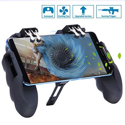 Preisvergleich Produktbild HEYSTOP PUBG Mobile Game Controller Sechs Finger All-in-One mit Lüfter,  Handyspiel-Auslöser Sensitive Schieß- und Zieltasten,  Geeignet für 4, 7-6, 5 Zoll Android & iOS Verschiedene Spiel (4 Triggers)