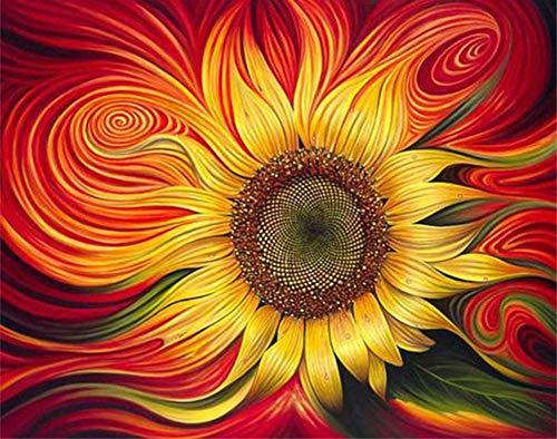 YEESAM ART DIY Ölgemälde Malen nach Zahlen Erwachsene Kinder, Rot Sonnenblumen, Abstrakt Blumen Zahlenmalerei ab 5 Öl Wandkunst (Sonnenblumen, mit Rahmen)