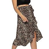 TOPKEAL Falda a Media Pierna para Mujer Falda Femenina con Estampada del Leopardo con Dobladillo del Volante de Nueva