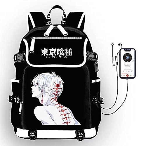 EDMKO Tokyo Ghoul Mochilas Escolares, Niñas Chicas Mujer Mochila Bolsa Impermeable Rucksack Casual Deporte Playa Viaje Compras Bolsa de Viaje Bolsa para Laptop,C