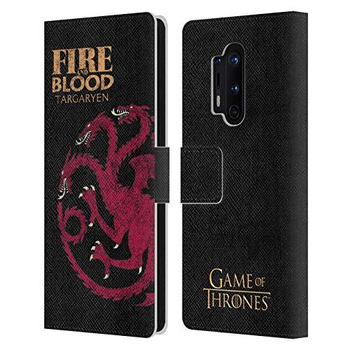 Head Case Designs Licenciado Oficialmente HBO Game of Thrones Targaryen Lemas de La Casa Carcasa de Cuero Tipo Libro Compatible con OnePlus 8 Pro 5G