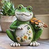 Gartendeko Figuren Frosch, 23 cm Frosch Garten Deko aus Kunstharz, wasserfest Balkon Deko, Frosch mit Geige und Blumen, wetterfest Deko für Garten Balkon Teich Terrasse Hof