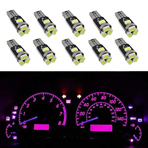 WLJH 10 pcs Rose 3020 5SMD LED Ampoule 74 2721 74 LED Wedge Tableau de Bord Tacho Jauge Cluster Lampe pour 2005-2011 Corvette
