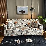 WXQY Funda de sofá de impresión elástica, Funda de sofá de Esquina en Forma de L, Funda de sofá Antideslizante Estilo Hoja Creativa nórdica A4 2 plazas