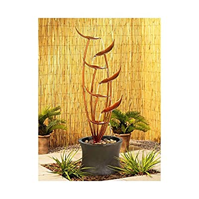 """Universal Lighting and Decor Tiered Copper Leaves Rustic Modern Outdoor Floor Water Fountain 41"""" High Cascading for Yard Garden Patio Deck Home - John Timberland"""