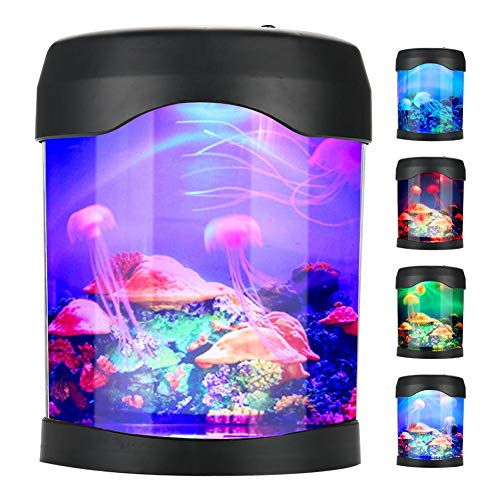 Zerodis Mini Aquarium Licht USB Aquarium Mood Light Portable Mini Schreibtisch Aquarium Lampe mit Farbwechsel für Heimtextilien