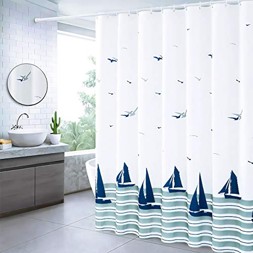 72 x 72 Fabric Shower Curtain for Bathroom, Nautical Shower Curtain Coastal Shower Curtain Waterproof with Hooks, Sailboats
