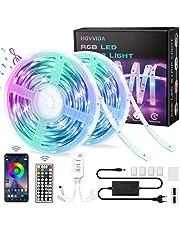 20M LED Strip, HOVVIDA Bluetooth Muziek LED-strip voor Kamer, Aangestuurd door APP, IR-afstandsbediening en Controller, 16 Miljoen Kleuren, 28 Stijlen, Tijdmodus