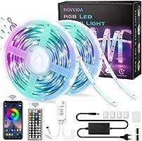 LED Strip, HOVVIDA 20M Bluetooth LED Streifen RGB 5050 12V, Wird von APP, IR-Fernbedienung und Controller Gesteuert, LED...