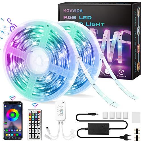 20M Tiras LED RGB 5050 Música, HOVVIDA Bluetooth Luces de Tiras LED 12V para Habitación, Controladas por APP, IR Control Remoto y Controlador, 16 Milliones de Colores, 28 Estilos, Modo de Horario