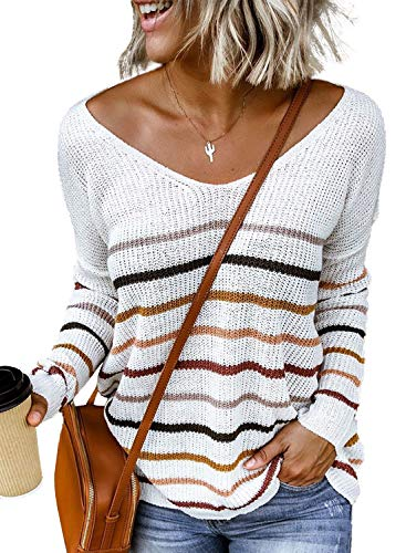 Dokotoo Womens Juniors Cute Summer Fall Crewneck One Off Shoulder Striped Long Sleeve Oversized Baggy Lightweight Comfy Cozy Cable Knit Beach Pullover Long Tunic Sweaters Tops Shirts XL