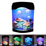 LED Jellyfish Lava Lamp, USB Jellyfish Lamp Electric Aquarium Tank Mood Night Light with Color-Changing for Home Bedroom Background Decoration