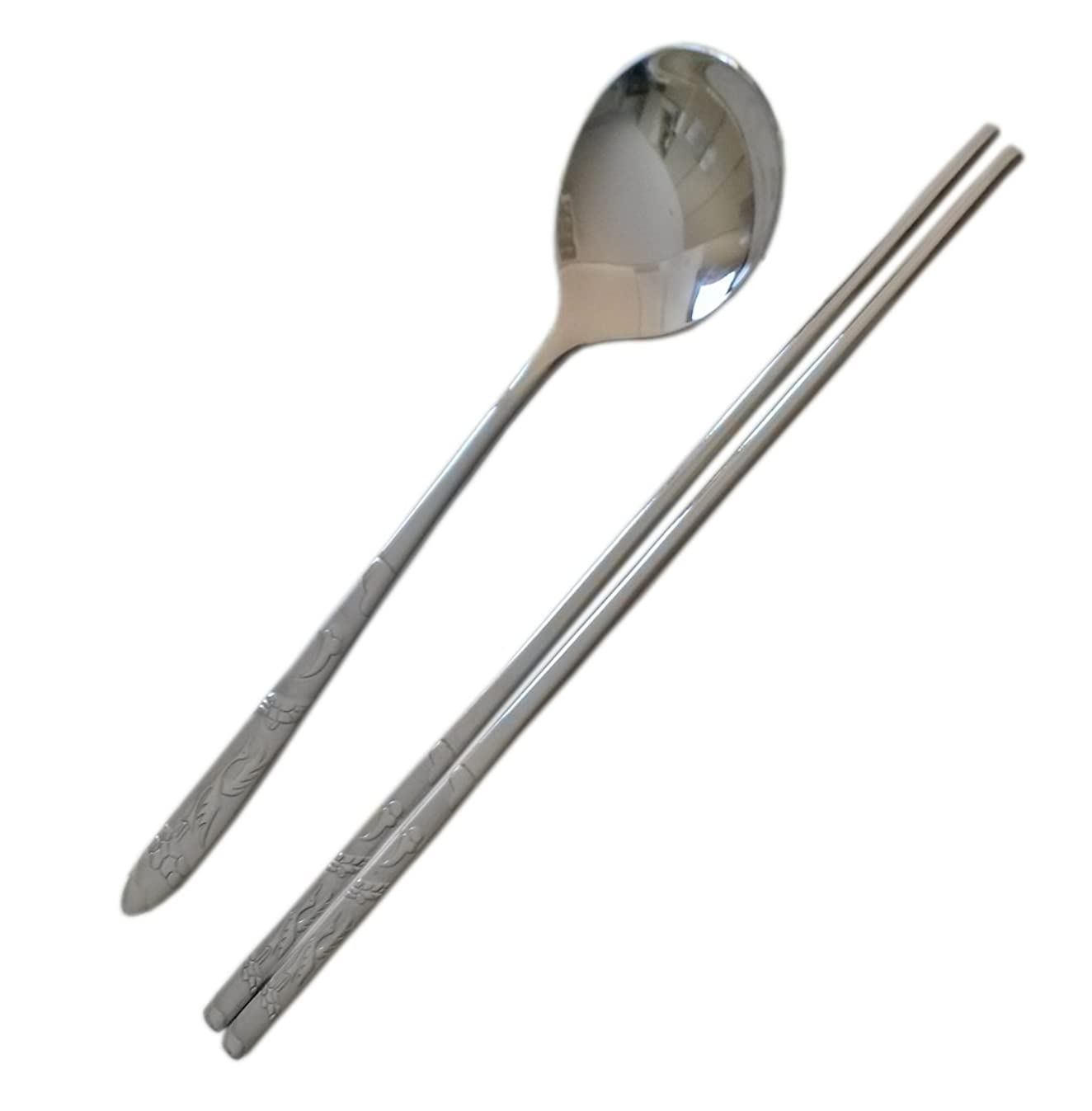 Kitchen Flower 5 sets Crane Carved Korean Traditional Cutlery Stainless Steel Spoon and Chopstick Set