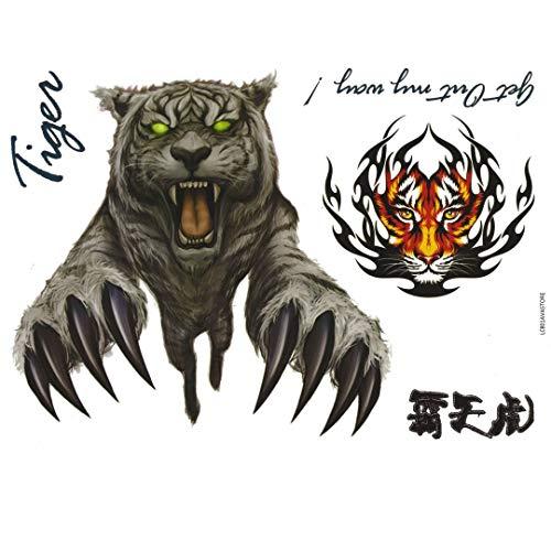 Tatouage Temporaire Homme Tigre Félin Animal Tatouage Éphémère pour Homme TIGRE - AVASTORE