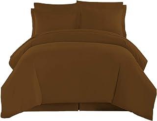Organic Nido 800TC 超柔软奢华,* 天然棉,3 件(1 件羽绒被套 + 2 件枕套)有机棉羽绒被套套件带美国有机纺织品?#29616;ご可?巧克力色 Full/Queen