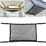 Bestcool Red para techo de coche, 2 en 1 Bolsa de malla para almacenamiento de coche Soporte para caña de pescar Red de almacenamiento de techo interior de coche multiusos Organizador con 5 orificios