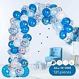 Globos de Fiesta Kit de Guirnalda, 121 Piezas Gris Azul Globos de látex Confeti para Bodas, Fiestas, Baby Shower, Boda Cumpleaños Decoraciones
