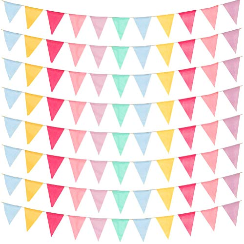 DODUOS 66ft Fabric Bunting Banner Multicolor, 96PCS Triangle Flag Garlands Pennant Banners Fabric Triangle Garlands for Baby Shower Birthday Party Garden Decoration Indoor Outdoor