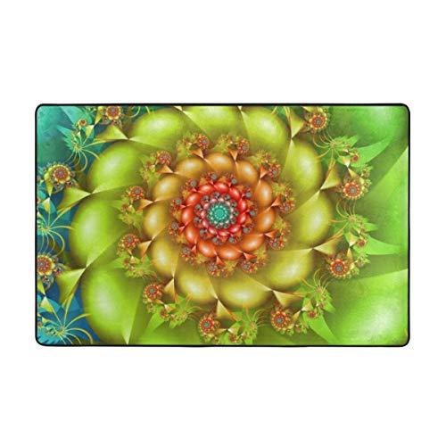 MAYUES Badematte,Bunte Spiral Fractal Twirling Blumen in lebendigen Farben Whirlpool Image Vortex,Rutschfester Badezimmerteppich Teppich