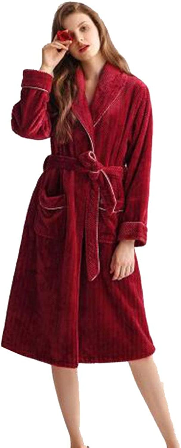 NAN Liang Winter Bathrobes 100% Cotton Ladies Dressing Gown Big Red Padded Nightwear Ultra Soft Robes (Size   XL)