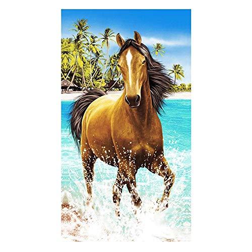 Große Strandtücher Badetuch Schnell Trocknend Wasseraufnahme Extra Microfiber,Pferde,Delphin, Hawaii-Motiv 100 x180CM,Mehrfarbig (Brown Pferd)