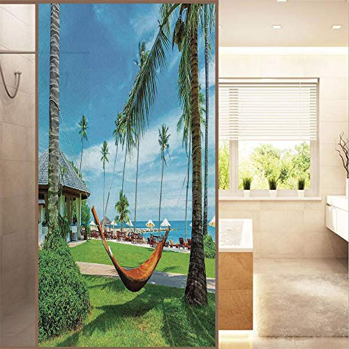 AmaUncle Decorative Privacy Window Film Holiday Decorations,Hammock Between Palm No Glue Frosted Glass Film Static Cling Glass Window Sticker W23.6 xH47.2 AM017719