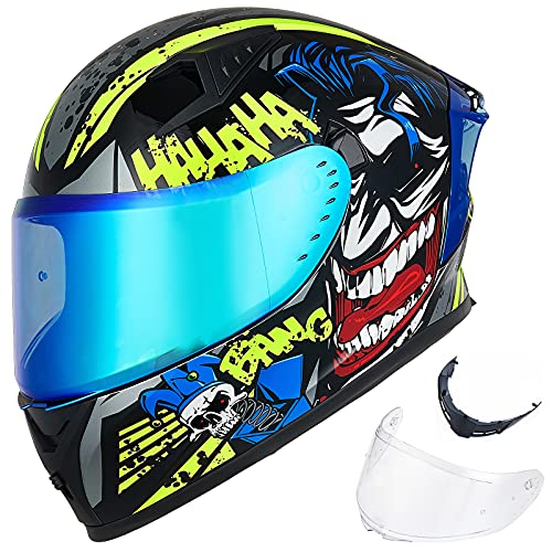 ILM Motorcycle Helmet Full Face with Pinlock Compatible Clear&Tinted Visors and Fins Street Bike Motocross Casco DOT(Surprise Yellow, Large)