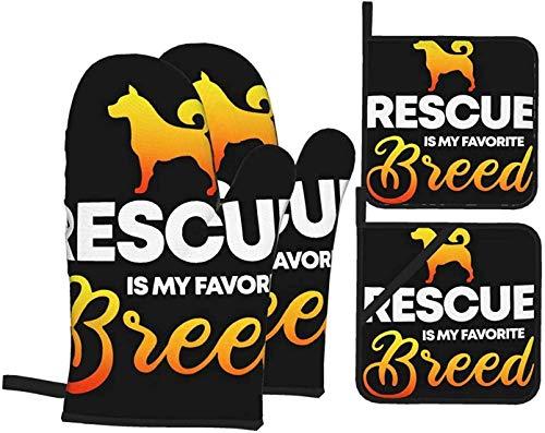 MODORSAN Rescue es mi Raza Favorita para Amantes de los Perros,Guantes para Horno y Soportes para ollas,Juego de Cocina de 4 Resistentes al Calor para Barbacoa,microondas,Barbacoa,Primavera/Verano