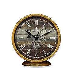 Classic Silent Wall Clock, Non-ticking Decor Wall Clock 6 Inches Vintage Gold Metallic Looking Easy to Ready For Kitchen/Bathroom/Kids Room/Office