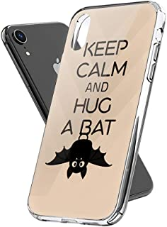 Lucky Cicity Compatible for iPhone XR Keep Calm and Hug a Bat Funny Animal Hard PC with Soft TPU Edges Anti-Yellowing Protective Case