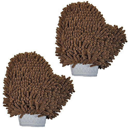 My Doggy Place Versatile Microfiber Car Wash Mitt or Dog Bath Glove - Ultra Absorbent and Lint Free (Colors: Brown, 2 Pack) by