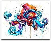 DMFNGJSD 数字油絵 フレームレス 、数字キット塗り絵 手塗り DIY絵-色タコ-デジタル油絵 40x50 cm