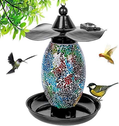 MOPHA Comedero solar para pájaros, casita de jardín, farolillo de luz al...
