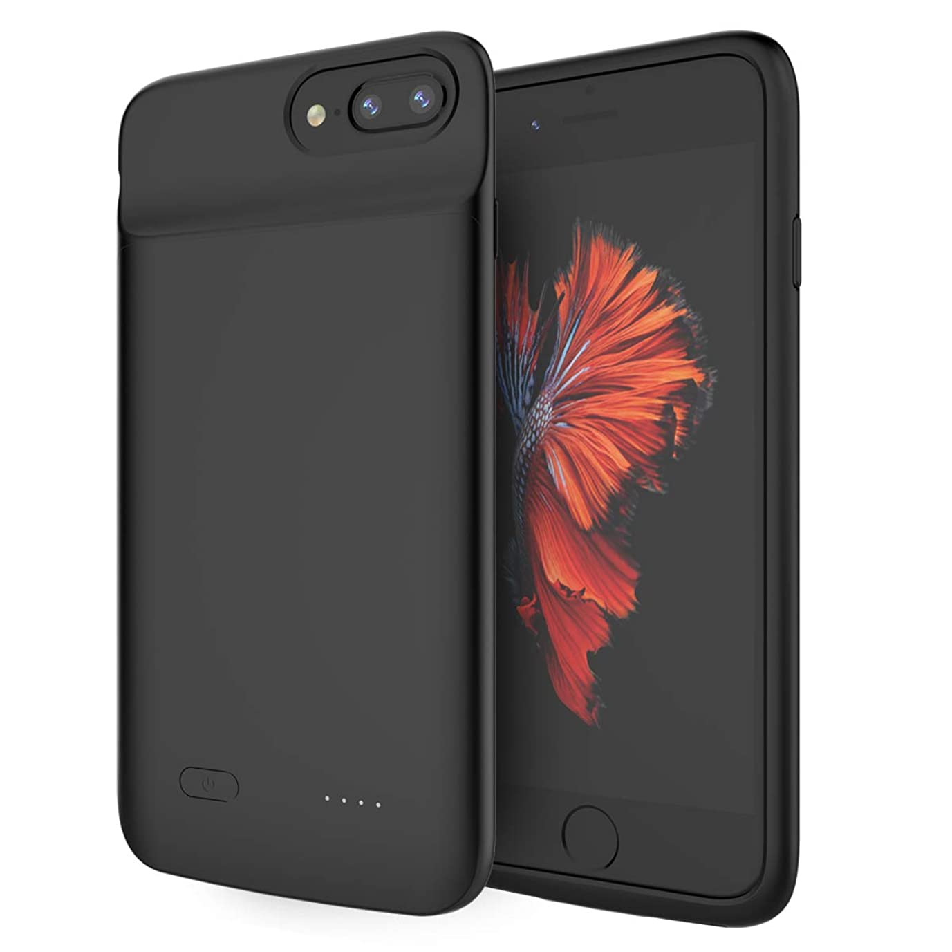 墓地連結する他にiPhone 6 Plus iPhone 6s Plus iPhone 7 Plus iPhone 8 Plus 5.5inch 5000mah Battery Charger バッテリーケース、超薄型 ポータブル充電器ケース充電式拡張バッテリパック保護バックアップ充電ケースカバー 用の高速充電機能 黑
