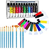 Veczom Acrylic Paint Set 12 Colors Non Toxic Painting Supplies Set 11pcs Brush for Rock Painting, Canvas, Ceramic, Wood, Professional Artists, Beginners, Students and Kids