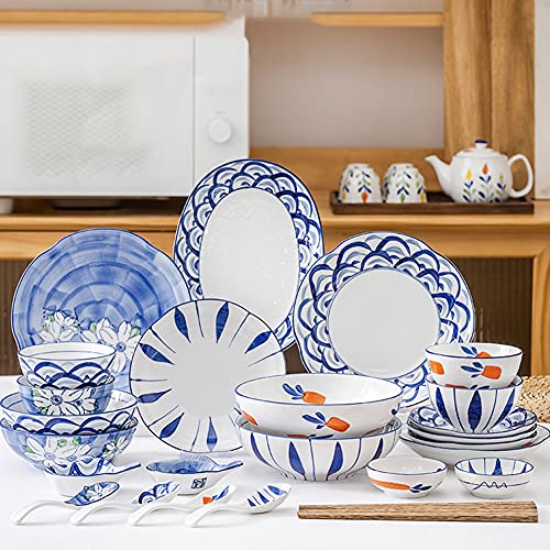 20 Pcs Dinnerware Sets, Japanese-Style Porcelain Tableware Set with Plates Dish and Bowls, Blue White Ceramic Dinner Set for Home Kitchen Dinning, Microwave Oven Safe, Service for 4