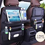 Jiadi Si Car Seat Organizer, Backseat Car Organizer, Protector Kick Mats for Kids, Table Tray, Foldable Dining Table with iPad and Tablet Holder, Travel Accessories Organizer (1 Pack)