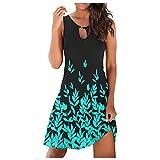 coersd Summer Dress for Women Sexy Cute Skirt Casual Sleeveless O-Neck T-Shirts Sundress Boho Print Mini Beach Jumper Dress Green