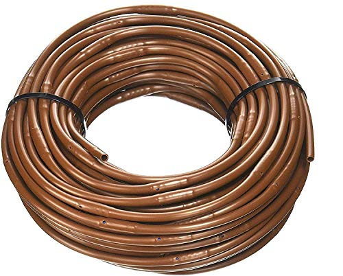 (100' ft Roll) - USA Made - 1/4-Inch x Irrigation/Hydroponics Dripline with 6-Inch Emitter Spacing (Brown) (100' Foot Roll)