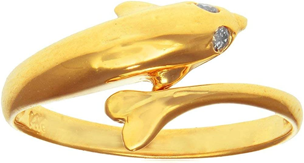 JewelStop 14k Yellow Gold CZ Dolphin Toe Ring Adjustable, 1.3gr.