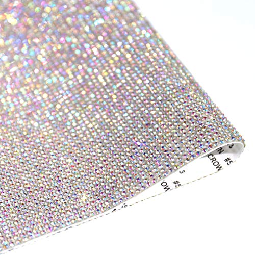 DXDECOR 9.4in X 15.7in Bling Crystal Rhinestone DIY Decoration Sticker,Self Adhesive Crystal Sheet with 2mm Rhinestones(AB Crystal)