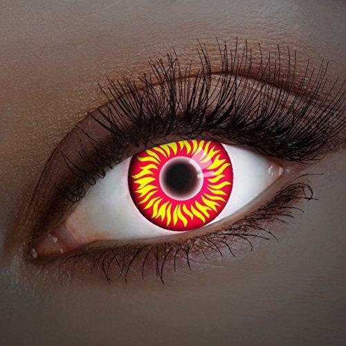 aricona Kontaktlinsen - Rot-gelbe UV Kontaktlinsen ohne Stärke - Farbige Kontaktlinsen mit UV Spezialeffekt für Karneval, Fasching, Cosplay und Motto-Partys, 2 Stück
