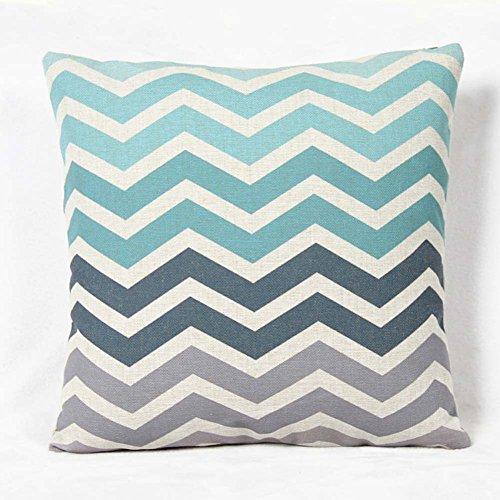 Personalizado gradiente onda Tribal Rayas geométrico cuadrado manta funda de almohada cojín funda de almohada, turquesa Aqua gris beige para el hogar sofá sofá decoración 17,3inchx17.3inch