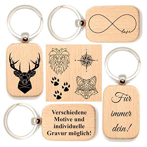 JaRo Schlüsselanhänger rechteckig aus Holz Gravur, wahlweise personalisiert mit Namen und Datum, Unisex Accessoire Geschenkidee Geschenk Glücksbringer Weihnachten Geburtstag (mit Motiv)