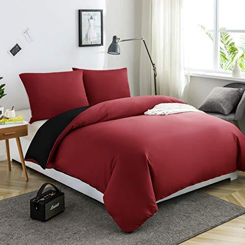 AYSW Ropa de cama de microfibra cepillada, 1 funda nórdica de 135 x 200 cm + 1 funda de almohada de 80 x 80 cm, con cremallera, color rojo burdeos y negro