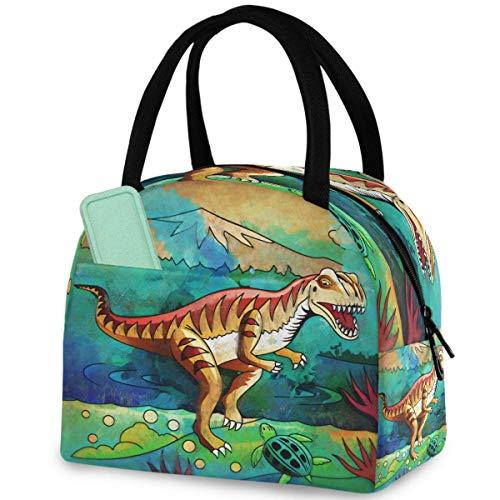 Cartoon Dinosaurier Habitat Wiederverwendbare Lunch-Tasche mit Reißverschluss, isolierte Thermo-Kühltasche für Arbeit, Picknick, Reisen, Strand, Angeln