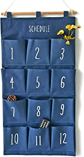 GODECOR 12 Pocket Linen Fabric Cotton Hanging Storage Bag, Bathroom Door Hanging Organizer, Wall Hanging Multipurpose Accessory Organizer for Bedroom and Kitchen (Blue) - YL00026-1