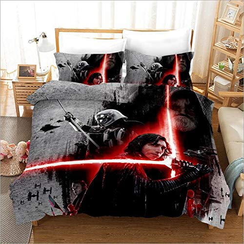 ZXX. Duvet Cover Set Kids 3D Star Wars Printed Comforter Cover for Boys Girls Teens, Bedding Set Decorative Twin Size with 2 Pillow Shams, 3 Pieces